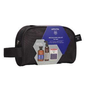 Περιποίηση Μαλλιών-Άνδρας Apivita – Promo Rescue Hair Loss Kit for Men Τονωτικό Σαμπουάν για Άνδρες 250ml, Λοσιόν κατα τις Τριχόπτωσης 150ml & Συμπλήρωμα Διατροφής για Υγιή Μαλλιά και Νύχια 30 κάψουλες