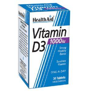 Βιταμίνες Health Aid – Vitamin D3 1000ui Χοληκαλσιφερόλη 1000iu 30 Tablets