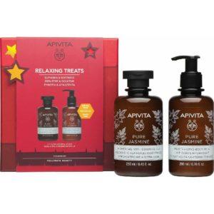 Body Shower Apivita – Promo Relaxing Treats Pure Jasmine Showergel 250ml & Body Cream 200ml