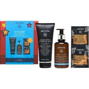 Περιποίηση Προσώπου Apivita – Black Detox Cleansing Jelly Μαύρο Gel Καθαρισμού 150ml & Tonic Lotion Καταπραϋντική και Ενυδατική Λοσιόν με Λεβάντα – Μέλι 200ml & Express Beauty Scrub Προσώπου Βερύκοκοκο 2x8m