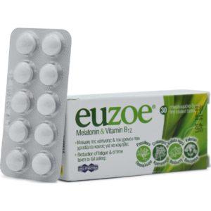 Άγχος - Στρες - Χαλάρωση Uni-Pharma – Euzoe Melatonin & Vitamin B12 Συμπληρώματα Διατροφής για την Μείωση της Κόπωσης 30 δισκία